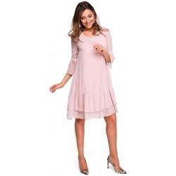textil Mujer Vestidos largos Style S160 Vestido boho de gasa con volantes - polvo