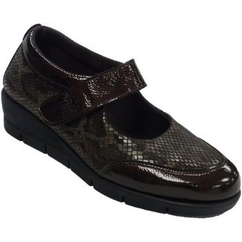 Zapatos Mujer Mocasín 48 Horas Zapatos mujer merceditas piel y licra marrón