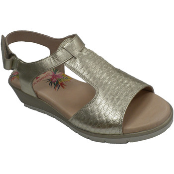 Zapatos Mujer Sandalias Pepe Menargues Sandalia mujer velcro con pala grabada oro