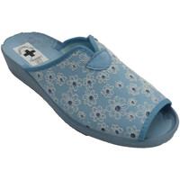 Zapatos Mujer Pantuflas Nevada Chancla mujer abierta punta y talón flor azul