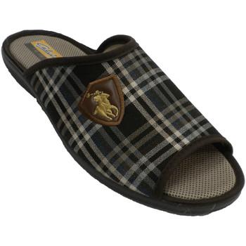 Zapatos Hombre Pantuflas Aguas Nuevas Chanclas hombre cuadros abiertas punta y marrón