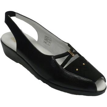 Zapatos Mujer Mocasín Salemera Sandalias mujer abiertas punta y talón p negro