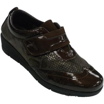 Zapatos Mujer Mocasín 48 Horas Zapatos mujer velcro piel y licra de ser marrón
