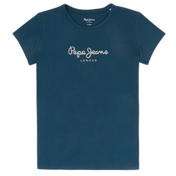textil Niña camisetas manga corta Pepe jeans HANA GLITTER Marino