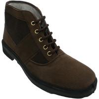 Zapatos Hombre Botas de caña baja Vallera Bota trabajo ante y lona tipo clásica Ch marrón