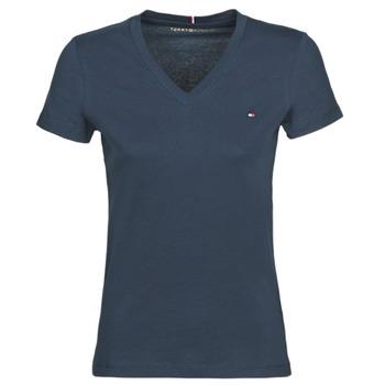 textil Mujer camisetas manga corta Tommy Hilfiger HERITAGE V-NECK TEE Marino
