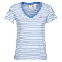 textil Mujer camisetas manga corta Levi's PERFECT VNECK Blanco / Azul