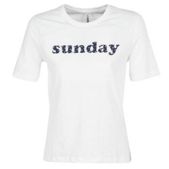 textil Mujer camisetas manga corta Only ONLSANNE Blanco