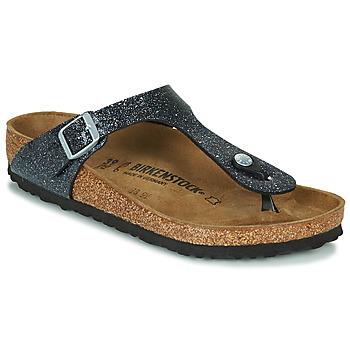 Zapatos Mujer Chanclas Birkenstock GIZEH Negro / Plateado
