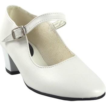 Zapatos Niña Bailarinas-manoletinas Bienve FLAMENCA-CORREA blanco