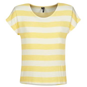 textil Mujer camisetas manga corta Vero Moda  Amarillo / Blanco