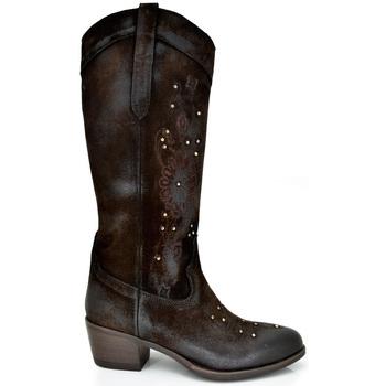 Zapatos Mujer Botas urbanas Exé Shoes BOTAS ALTA CAMPERAS CON TACÓN BELA-448 BROWN Color Cuero
