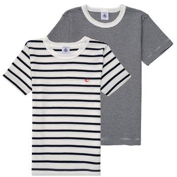 textil Niño camisetas manga corta Petit Bateau 53333 Blanco / Azul
