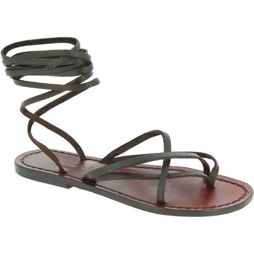 Zapatos Mujer Sandalias Gianluca - L'artigiano Del Cuoio 514 D MORO CUOIO Testa di Moro