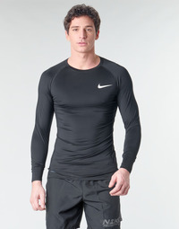 textil Hombre Camisetas manga larga Nike M NP TOP LS TIGHT Negro / Blanco