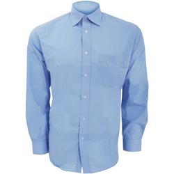 textil Hombre Camisas manga larga Kustom Kit KK104 Azul claro