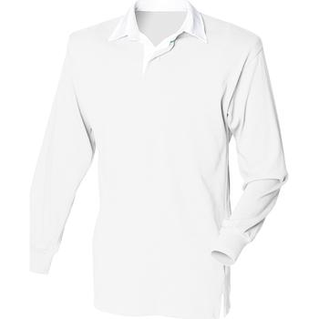 textil Hombre Polos manga larga Front Row FR100 Blanco/Blanco
