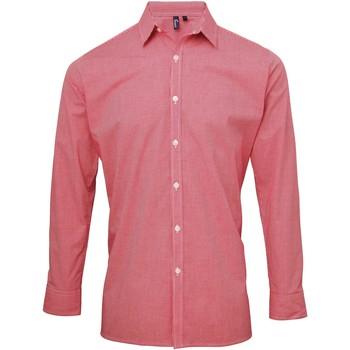 textil Hombre Camisas manga larga Premier Microcheck Rojo/Blanco
