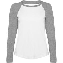 textil Mujer Camisetas manga larga Skinni Fit SK271 Blanco/gris