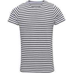 textil Hombre Camisetas manga corta Asquith & Fox Mariniere Blanco/Azul Marino
