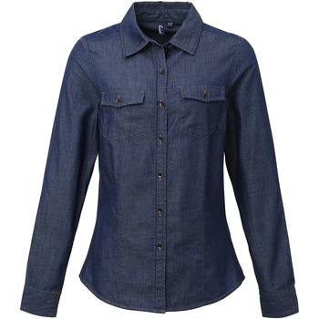 textil Mujer Camisas Premier Stitch Vaquero Azul