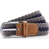 Accesorios textil Hombre Cinturones Asquith & Fox Two Colour Stripe Gris/marino