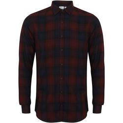 textil Hombre Camisas manga larga Skinni Fit Check Granate