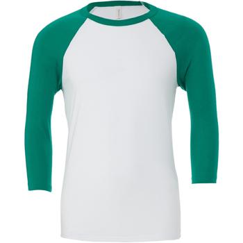 textil Hombre Camisetas manga larga Bella + Canvas CA3200 Blanco/Verde kelly