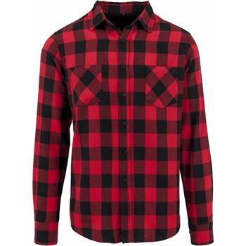 textil Hombre Camisas manga larga Build Your Brand BY031 Negro/Rojo