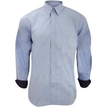 textil Hombre Camisas manga larga Kustom Kit KK189 Azul claro/Azul marino