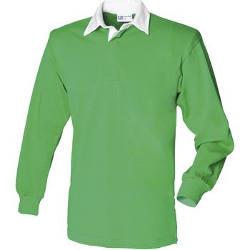 textil Hombre Polos manga larga Front Row FR100 Verde Bright/Blanco