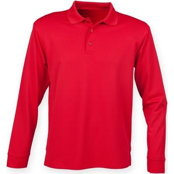 textil Hombre Polos manga larga Henbury HB478 Rojo Clásico