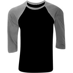 textil Hombre Camisetas manga larga Bella + Canvas CA3200 Negro/Gris jaspeado oscuro