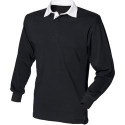 textil Hombre Polos manga larga Front Row FR100 Negro/Blanco