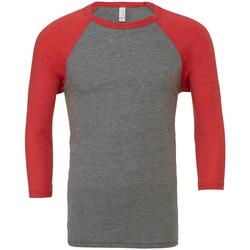 textil Hombre Camisetas manga larga Bella + Canvas CA3200 Gris/Rojo claro Triblend