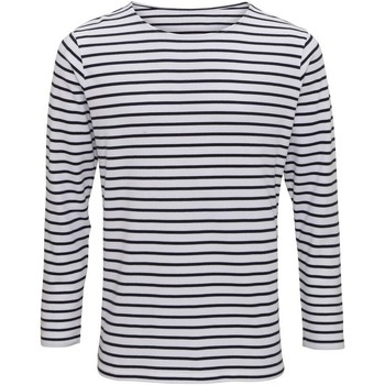 textil Hombre Camisetas manga larga Asquith & Fox AQ070 Blanco/Azul marino