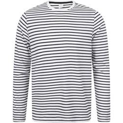 textil Camisetas manga larga Skinni Fit SF204 Blanco/Azul Marino Oxford