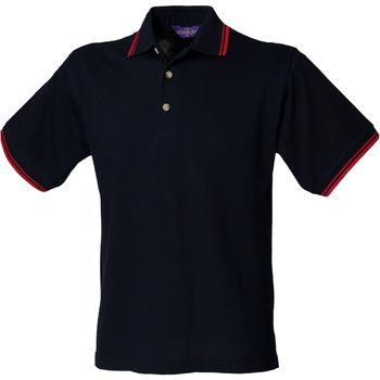 textil Hombre Polos manga corta Henbury HB150 Azul marino/Tipeado Rojo