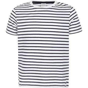 textil Niños Camisetas manga corta Skinni Fit SM202 Blanco/Azul marino oxford