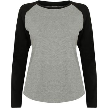 textil Mujer Camisetas manga larga Skinni Fit SK271 Gris/negro