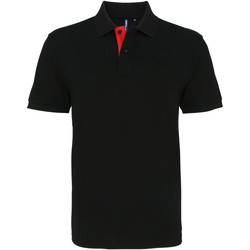 textil Hombre Polos manga corta Asquith & Fox AQ012 Negro/Rojo