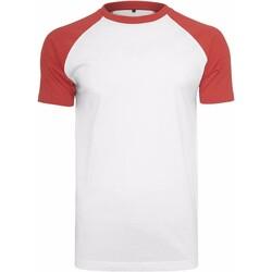 textil Hombre Camisetas manga corta Build Your Brand BY007 Blanco/Rojo