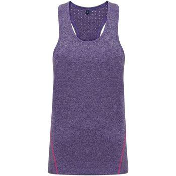 textil Mujer Camisetas sin mangas Tridri TR041 Púrpura Jaspeado