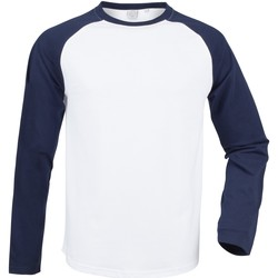 textil Hombre Camisetas manga larga Skinni Fit SF271 Blanco/Marino oxford