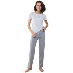 textil Mujer Pijama Towel City TC053 Blanco/Gris Jaspeado