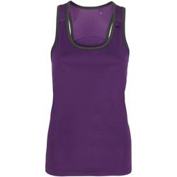 textil Mujer Camisetas sin mangas Tridri TR023 Morado/Carbón