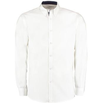 textil Hombre Camisas manga larga Kustom Kit KK190 Blanco/Azul marino