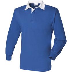 textil Hombre Polos manga larga Front Row FR100 Azul Real/Blanco