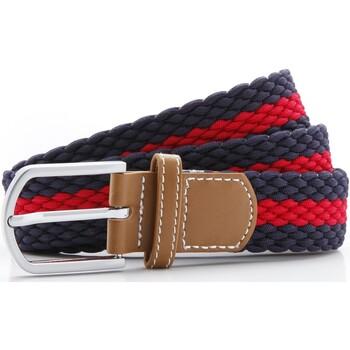 Accesorios textil Hombre Cinturones Asquith & Fox Two Colour Stripe Azul marino/ Rojo
