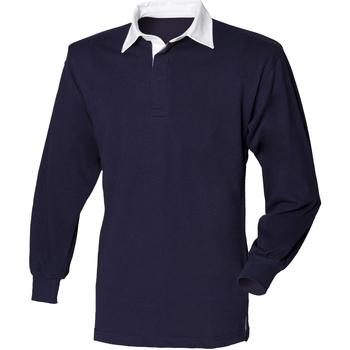 textil Hombre Polos manga larga Front Row FR100 Azul Marino/Blanco